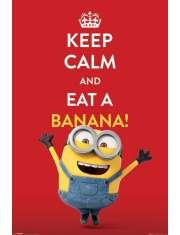 Minionki Keep Calm Eat Banana - plakat