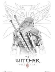 Wiedźmin Geralt Witcher Szkic - plakat
