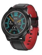 Smartwatch Garett Men 5S czarno-czerwony, skórzany