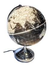 Smuke Podświetlany Globus Srebrny fi26 x 35,5cm-50192
