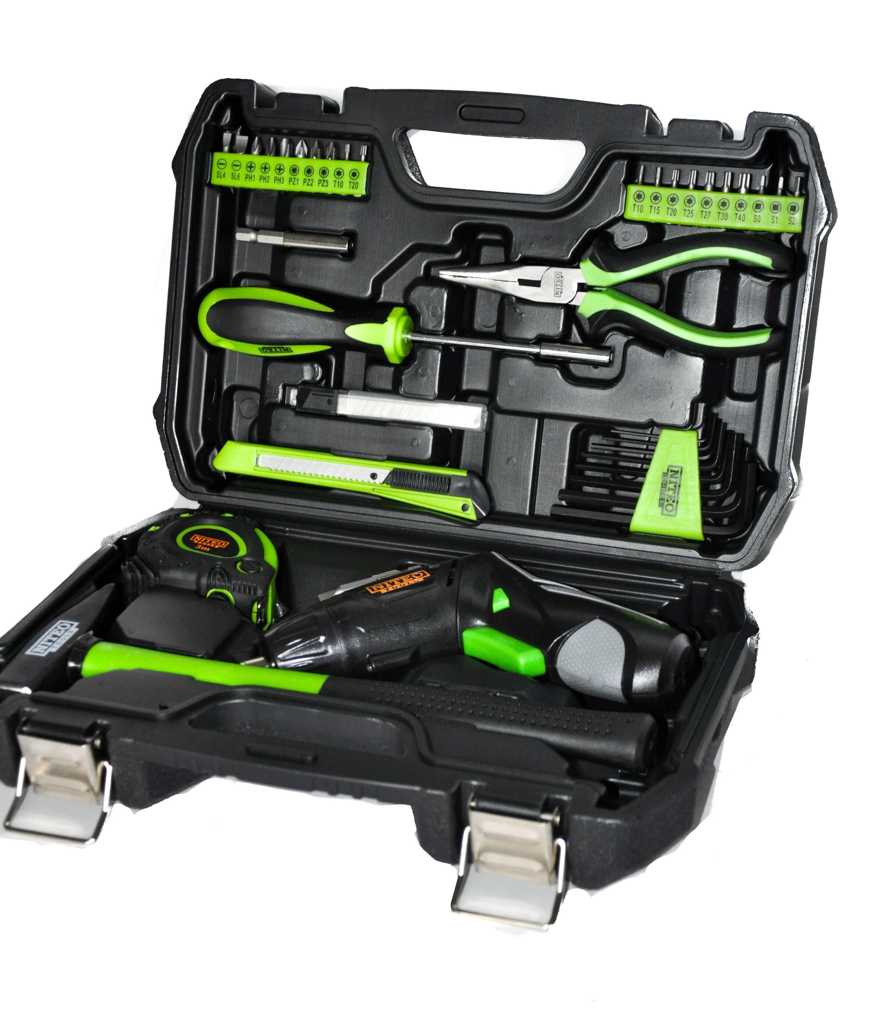 Zestaw narzędzi z wkrętakiem akumulatorowym