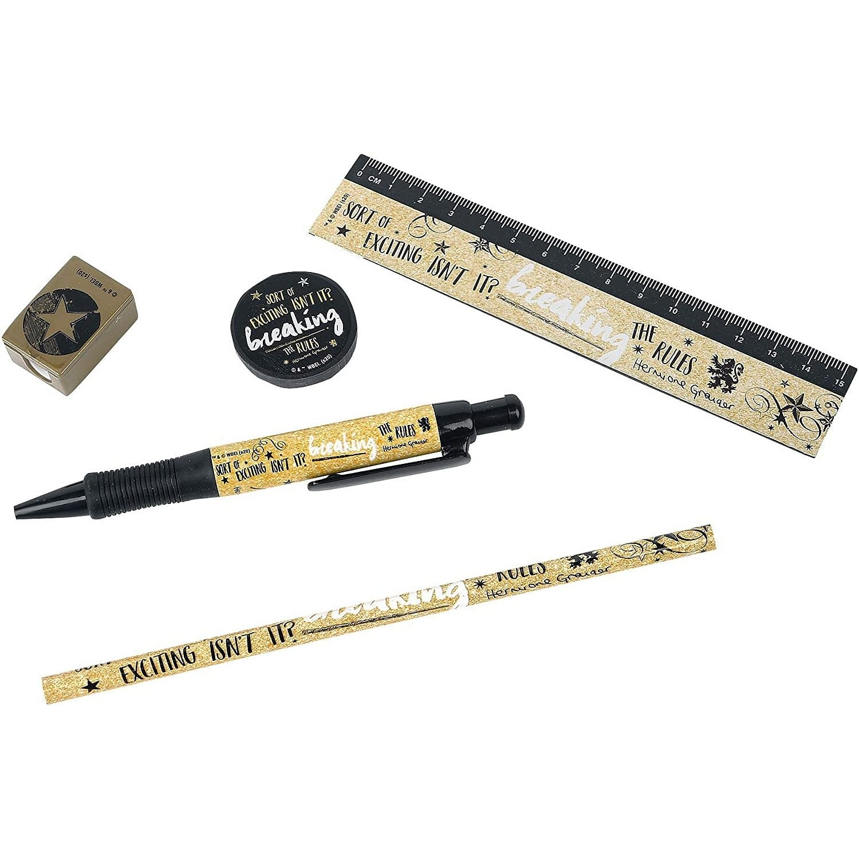 Zestaw przyborów Harry Potter Hermiona: długopis, ołówek, linijka, temperówka, gumka.