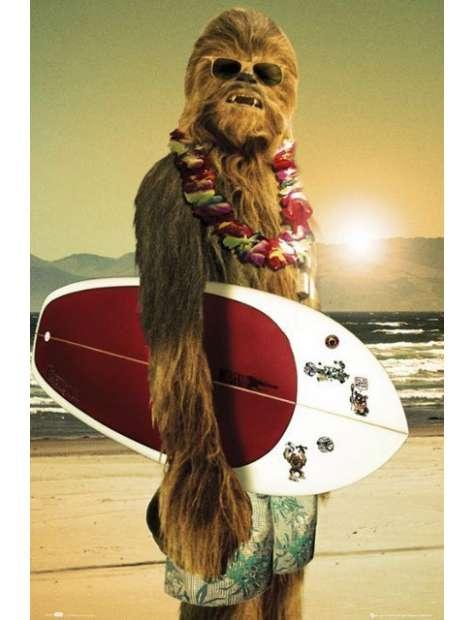 Chewie z Deską Surfingową - Star Wars Gwiezdne Wojny - plakat