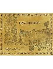 Gra o Tron Mapa Westeros i Essos - plakat