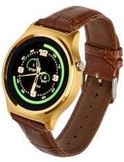 Smartwatch Garett GT18 złoty skórzany