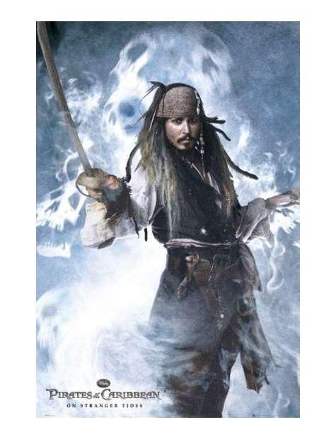 Piraci z Karaibów Jack Sparrow z szablą - plakat