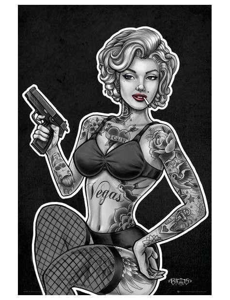 Uzbrojona i w Tatuażach Marilyn Monroe - plakat