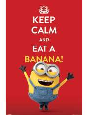 Minionki Keep Calm Eat Banana - plakat